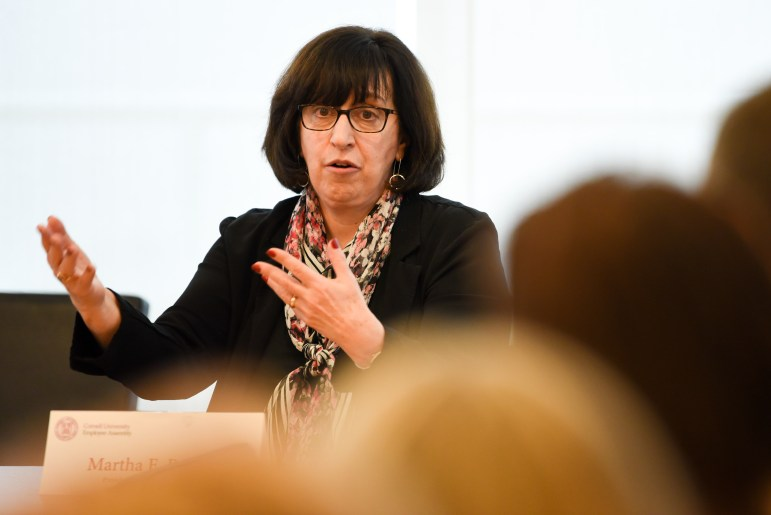 President Martha Pollack speaks at the Employee Assembly on Wednesday. (Boris Tsang / Sun Assistant Photography Editor)