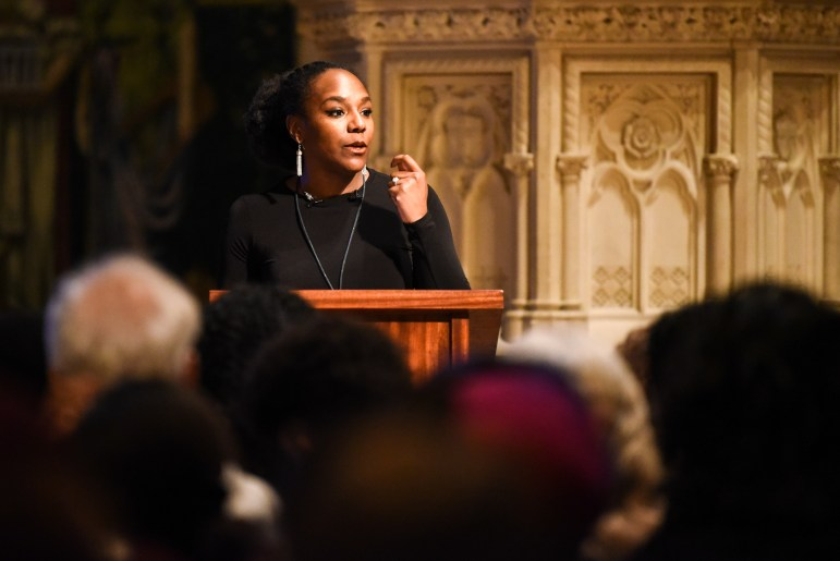 Civil rights activist Bree Newsome spoke on Monday about the legacy of the Rev. Dr. Martin Luther King Jr. and her own experiences in activism. (Boris Tsang / Sun Assistant Photography Editor)