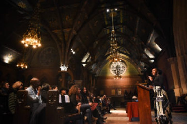"Bree Newsome speaks in Sage Chapel at Cornell on Monday. Police investigated a ""suspicious"" suitcase that turned out to be left by a student using the bathroom."