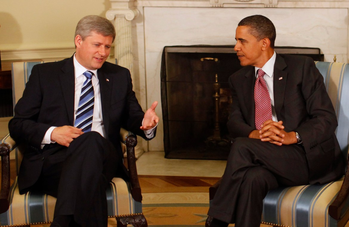 Former President Barack Obama meeting with Former Canadian Prime Minister Stephen Harper in the Oval Office in 2009.