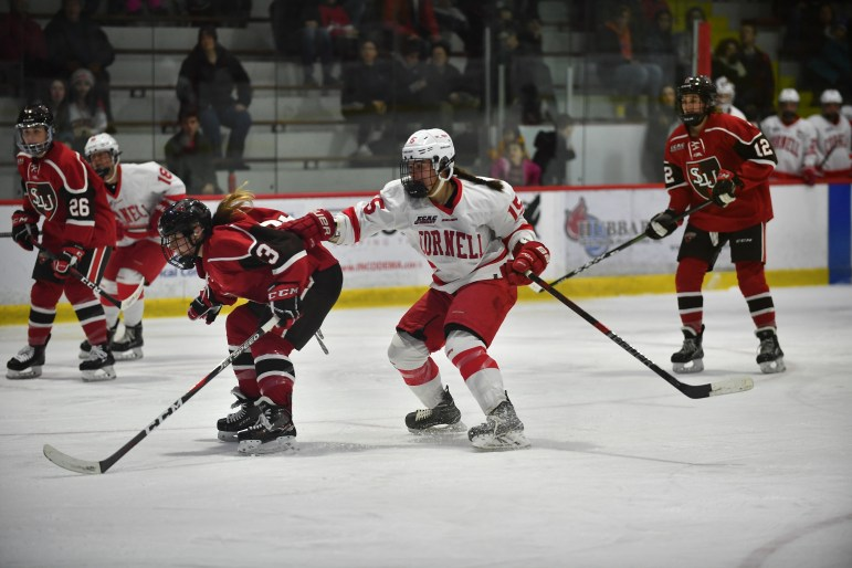 At St. Lawrence with a new backstop in net, Cornell held the Saints to one goal in an overtime tie.