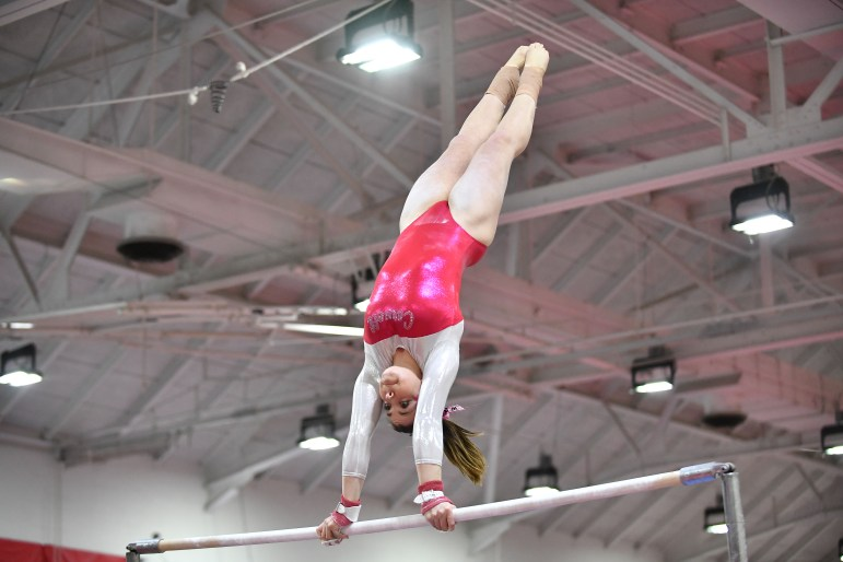 Women's gymnastics placed first at the invitational on Saturday. (Ben Parker / Sun Staff Photographer)