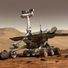 An image provided by NASA shows an artist's rendering of the Opportunity rover on the surface of Mars.