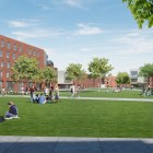 A rendering of the interior quad for freshmen students for the North Campus Residential Expansion.