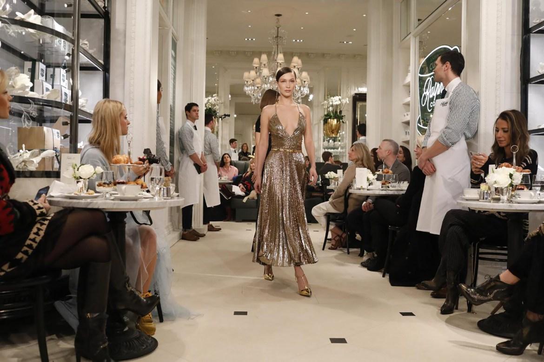 Bella Hadid headlines the Ralph Lauren New York Fashion Week show.
