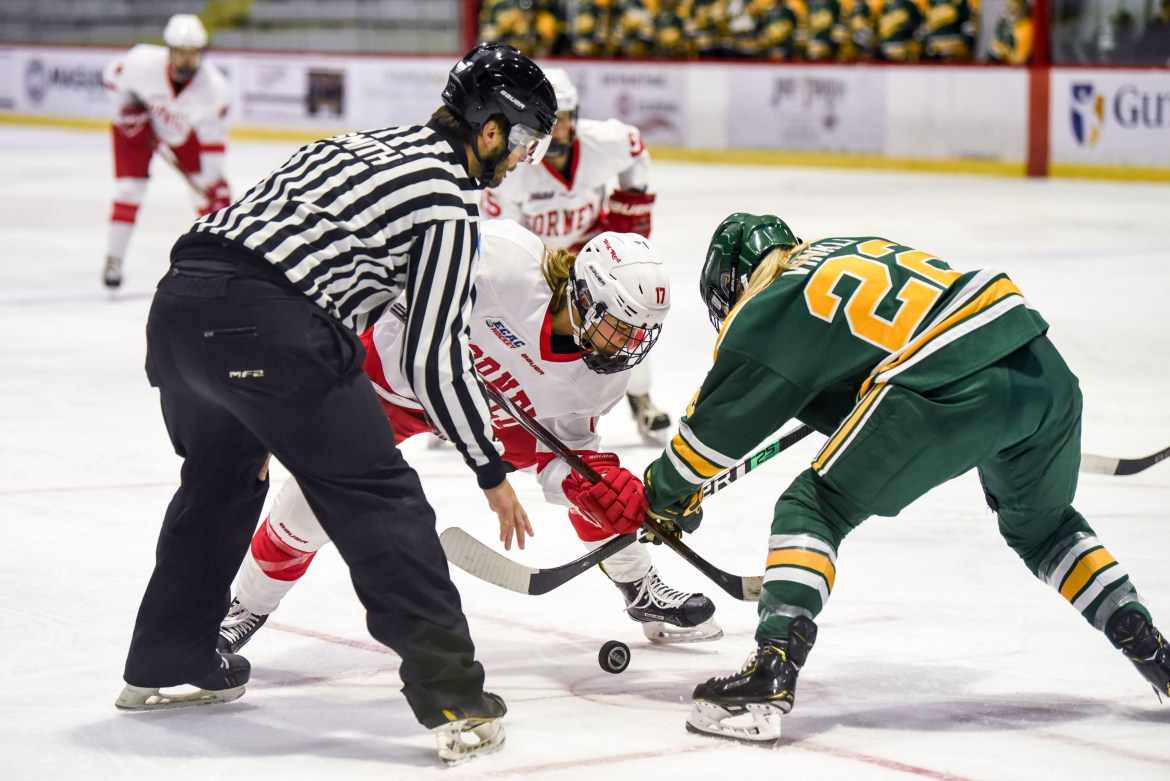 The Red were unable to replicate their home win against Clarkson earlier this season on Friday night, when they fell to the Golden Knights in Potsdam.
