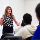 Audrey Mann Cronin spoke to students and faculty at Warren Hall on Thursday.