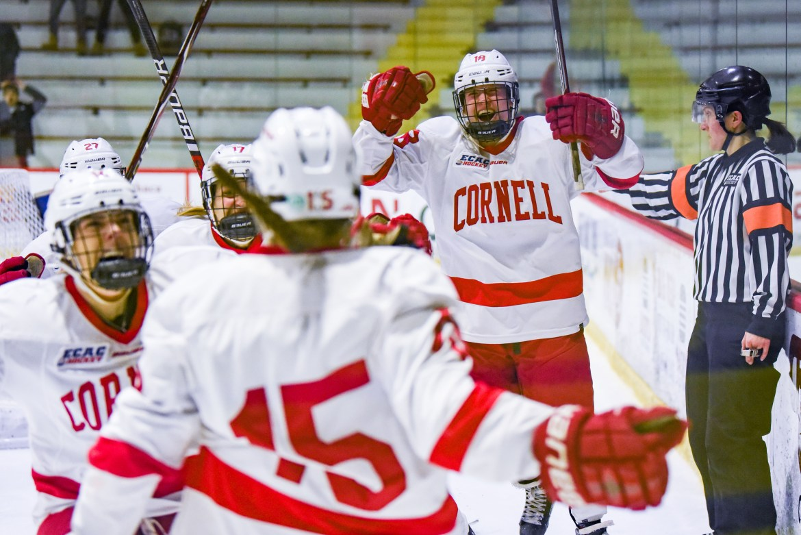 Cornell celebrates its overtime goal in game one of the quarterfinal series. After emerging victorious in game three, the Red will host ECAC championship weekend next week.