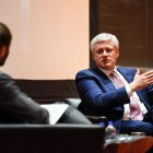 Stephen Harper, former Canadian Prime Minister, speaks at Uris Hall on March 7th, 2019.