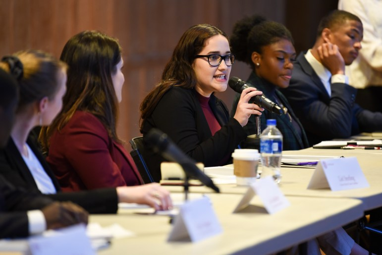 Ten candidates for Student Trustee fielded questions concerning everything from Greek reforms to mental health at a debate on Wednesday. (Boris Tsang / Sun Photography Editor)