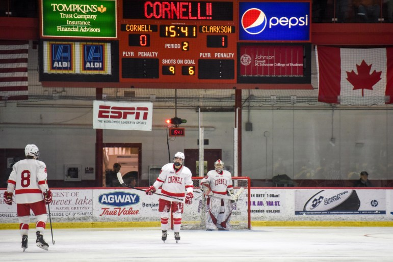 Two Loren Gabel goals 26 seconds apart put the Red in an early hole in the ECAC championship game.