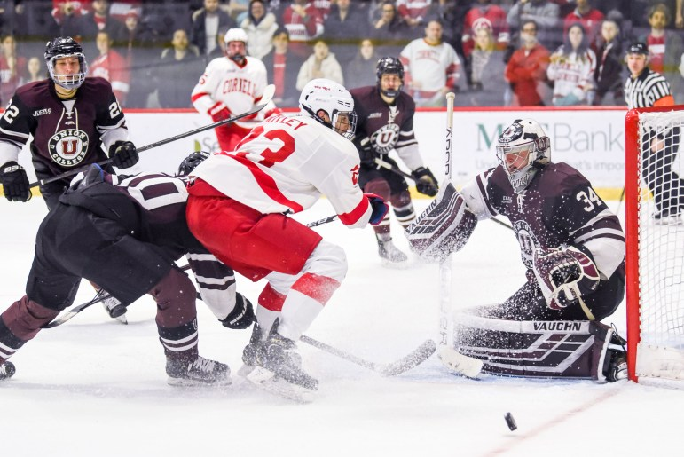 A physical game, Cornell and Union amassed 72 penalty minutes on Saturday.