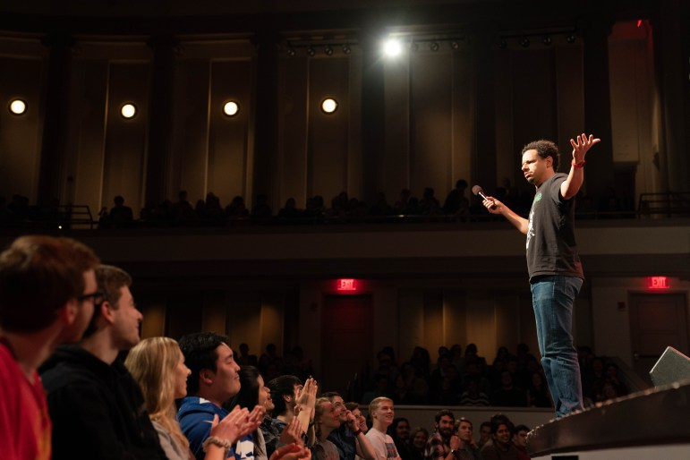 Actor, comedian and television host Eric Andre treated a sold-out Bailey Hall to a screaming tirade about drugs, sex and Cuban souvenirs Saturday evening. (Ben Parker / Sun Assistant Photography Editor)