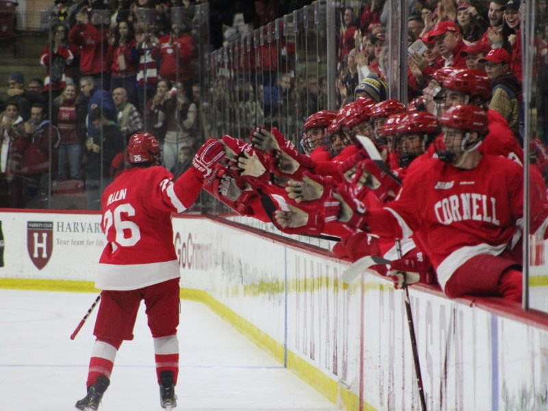 Sophomore Tristan Mullin's power-play goal ended up being the game-winner in Cornell's 2-1 win at Harvard.