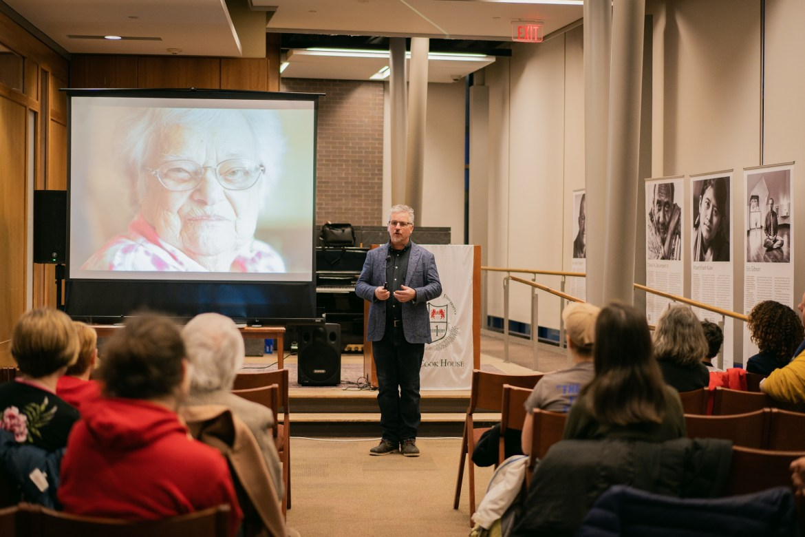 John Nolter visited Cornell this week and spoke about his photo series promoting peace.