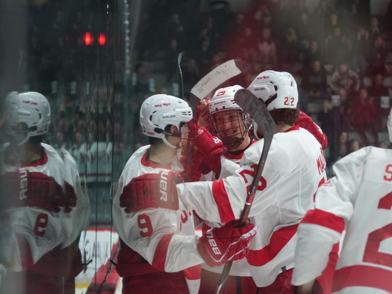 Two Cornell players scored their first goals of the season and the Red coasted to a 4-0 win in game two of the ECAC quarterfinals.