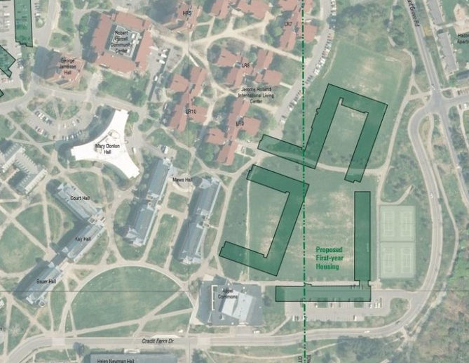 Future plans for the North Campus construction project will build on where the Appel Fields currently lie, putting student residences on sport spaces.