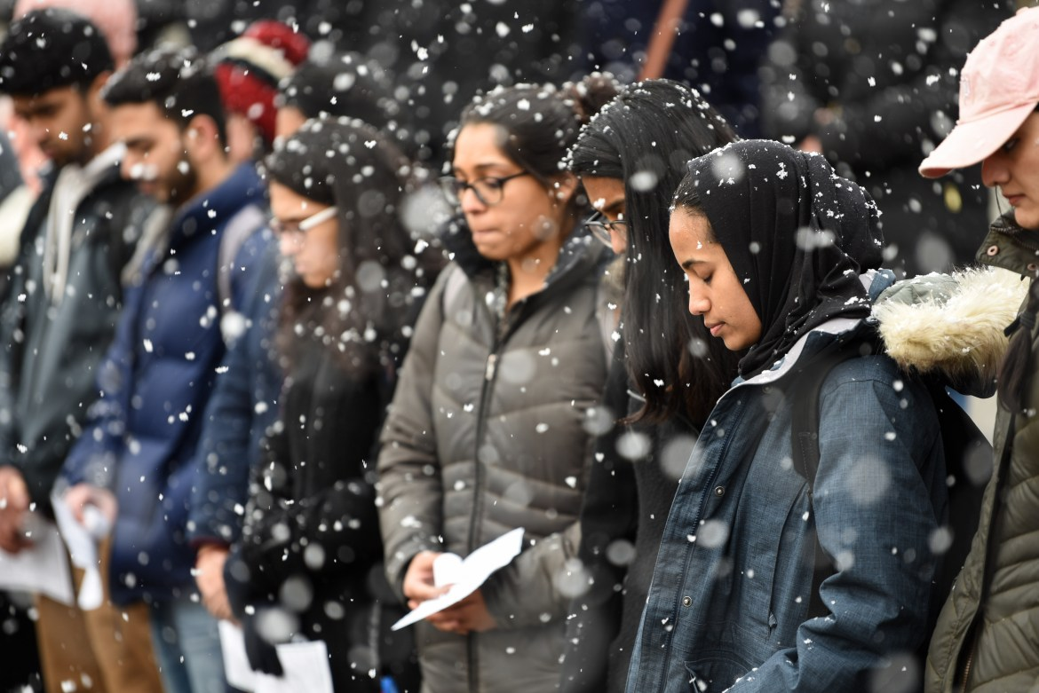 Students gather in Ho Plaza on Monday to remember the victims of the Mosque shooting in  Christchurch, New Zealand.
