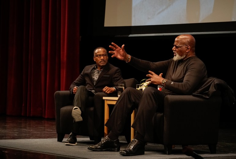 To commemorate the 50th anniversary of the 1969 Willard Straight Takeover, Harry Edwards Ph.D. '73 and Frank Dawson '72 spoke about social justice at Bailey Hall on Thursday. (Ashley He / Sun Staff Photographer)