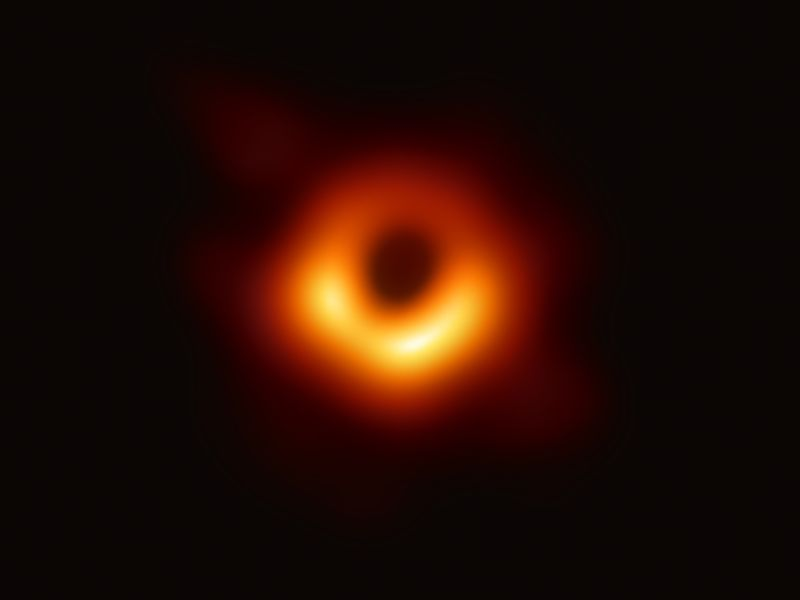 An image provided by the Event Horizon Telescope Collaboration, via National Science Foundation shows the first image of a black hole, from the galaxy Messier 87. The image, of a lopsided ring of light surrounding a dark circle deep in the heart of the galaxy known as Messier 87, some 55 million light-years away from here, resembled the Eye of Sauron, a reminder yet again of the power and malevolence of nature. It is a smoke ring framing a one-way portal to eternity.