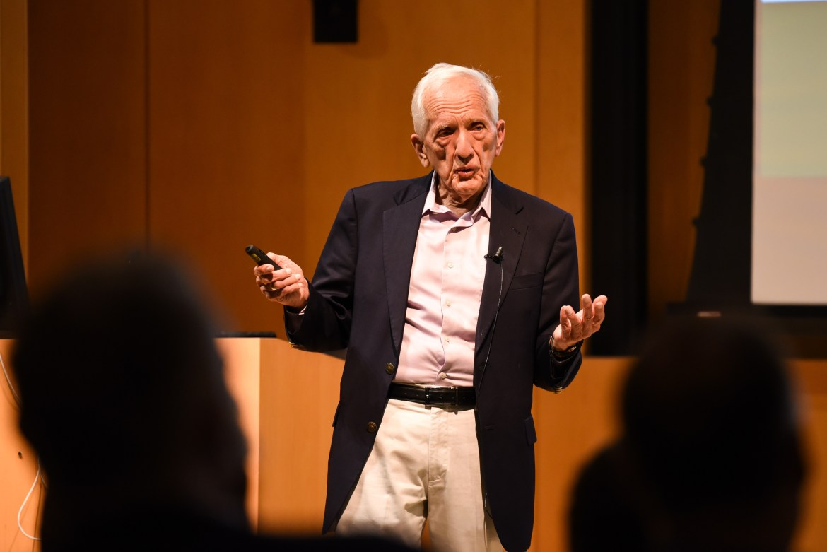 Prof. T. Colin Campbell Ph.D. '61 spoke on nutrition in America in Klarman Hall.