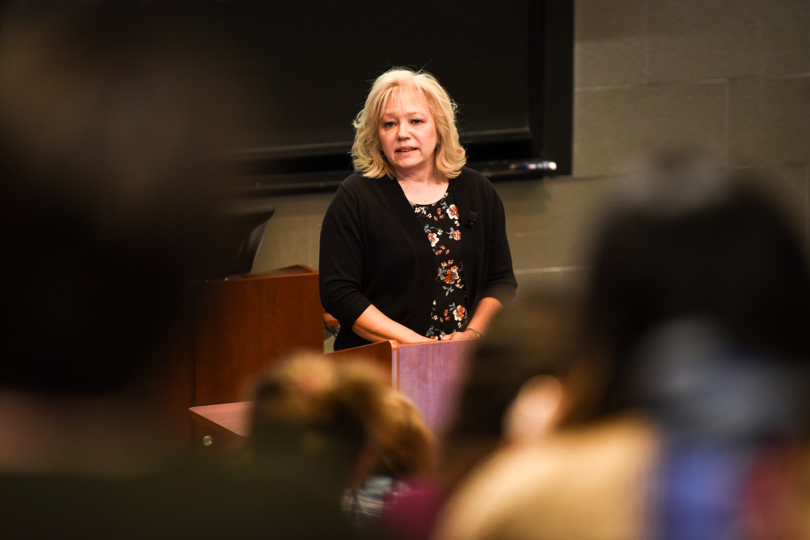 Debra Milke speaks at Myron Taylor Hall on Tuesday.