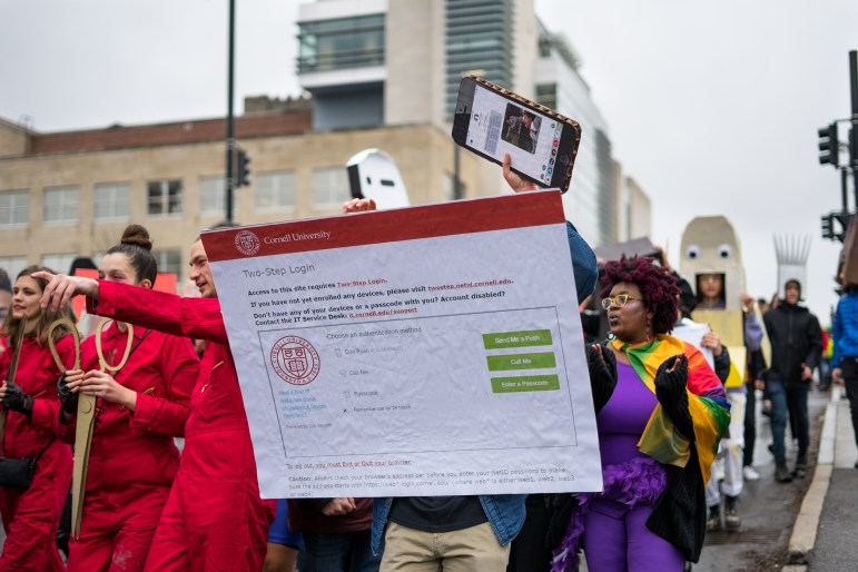 While some groups of students coordinated their outfits, there was no overall theme; paraders dressed up as anything from instant noodle packages to Cornell's Two-Step Login page.
