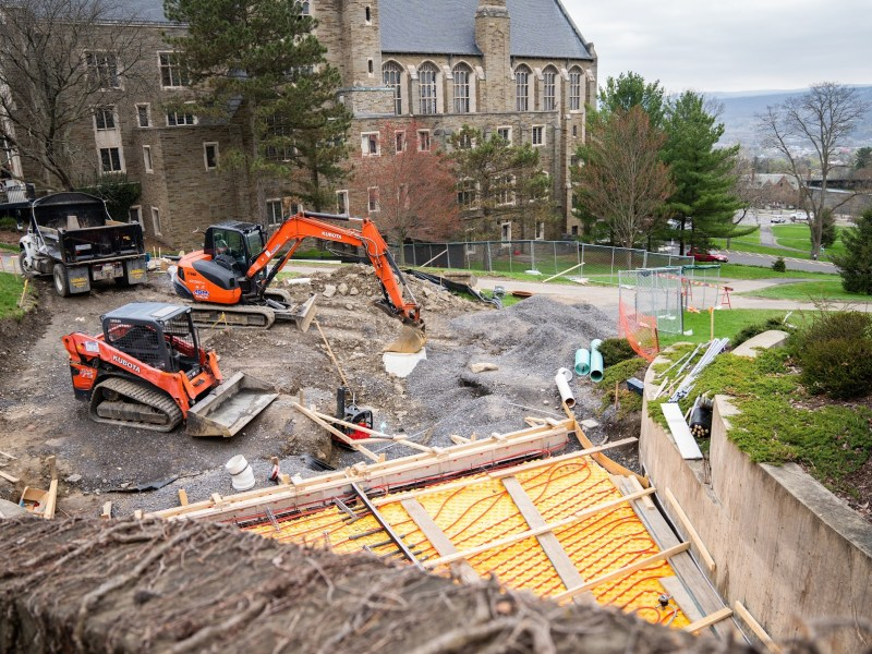 Construction on the Willard Straight Hall facing entrance of the cocktail lounge that will open for first time since 1982 in May.