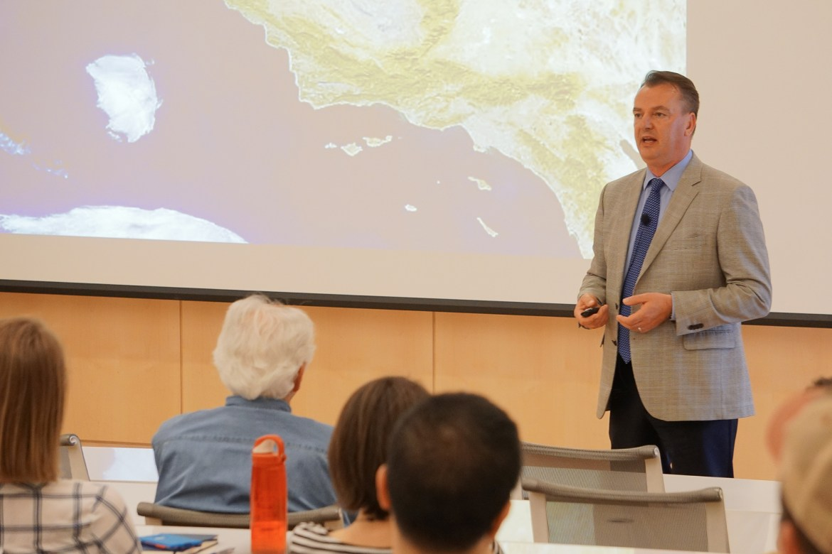 Prof. Frank Mitloehner, Animal Science Professor at UC Davis, gave a talk Monday about animal agriculture and its contribution to global warming, or rather its lack of contribution.