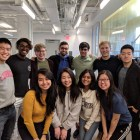 The project team gathers before the app is launched. Top: Andrew Gao '22, Kaushik Ravikumar '21, Evan Welsh '21, Raymone Radi '19, Ashneel Das '22, Matt Coufal '20, Andrew Xiao '20 Bottom: Kathy Wang grad, April Ye '21, Neha Rao '20, Kaitlyn Son '19