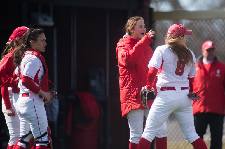 Olivia Lam '19, left, is one of seven current and former softball players who claim that Farlow fostered a hostile team environment.