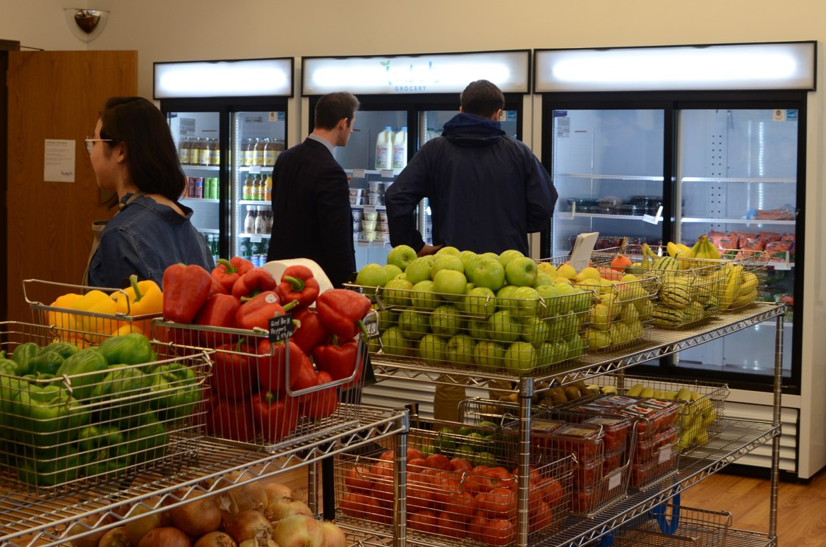 Students peruse the shelves of Anabel's Grocery, a student-run store that tries to tackle food insecurity on campus.