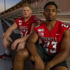 Offensive lineman George Holm (left) and safety Jelani Taylor are Cornell's 2019 captains.