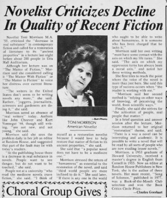 """The Cornell Daily Sun on November 3, 1978: Morrison said her own writing """"must have some contact with the axis on which my life turns."""" She continued: """"The axis on which any oppression turns has always been a moral axis."""""""