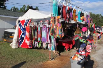 A Confederate flag on display alongside apparel items at a state fair in Delaware in 2016.
