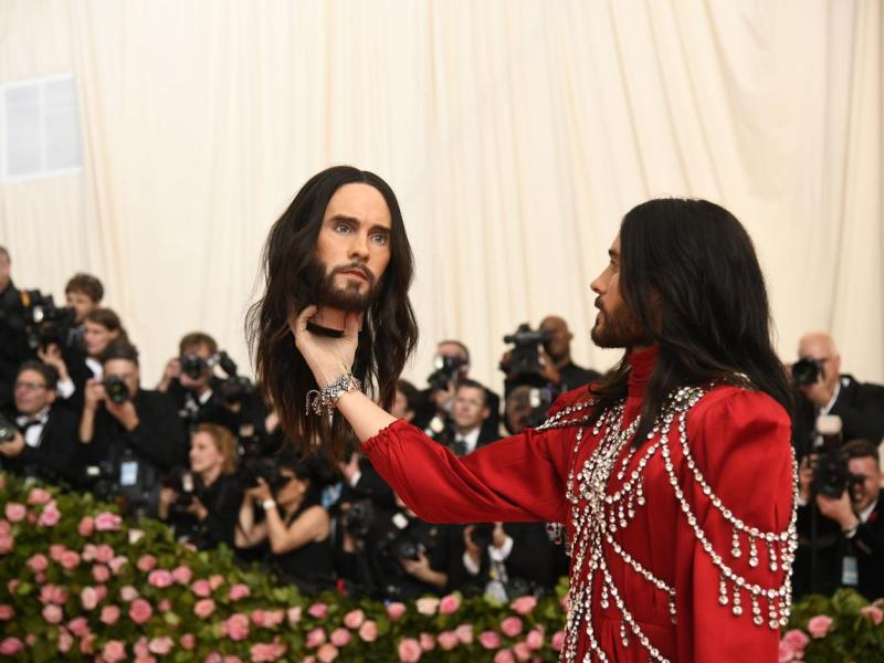 """Jared Leto at the Metropolitan Museum of Art's Costume Institute benefit gala in New York, May 6, 2019. The theme for this year's Met Gala is """"Camp: Notes on Fashion."""""""