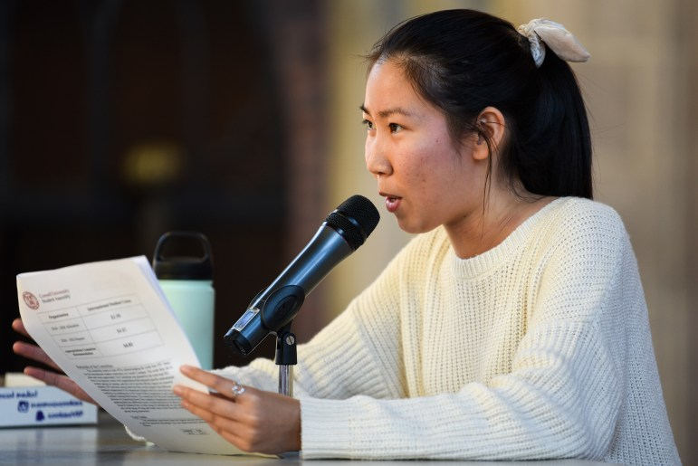 Executive Vice President Catherine Huang speaks at the Student Assembly meeting on September 19th, 2019. (Boris Tsang/Sun Photography Editor)