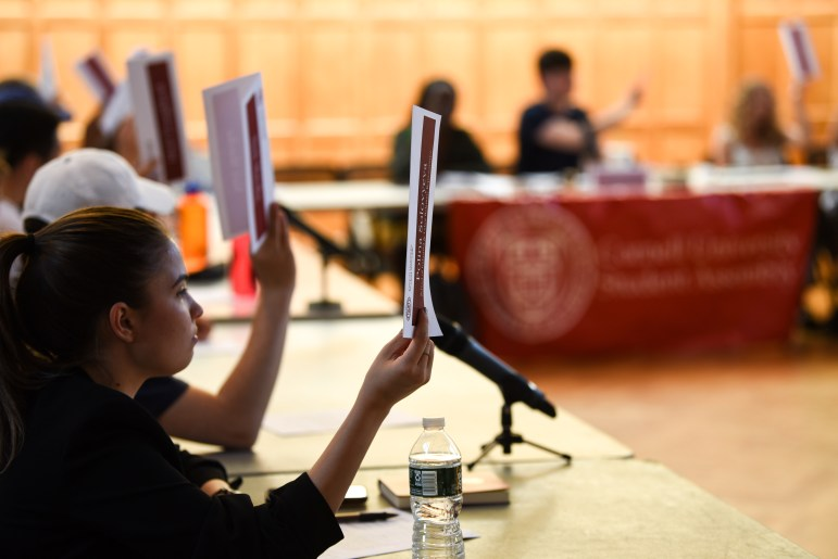 Student Assembly members take a vote at the Student Assembly meeting on September 19.