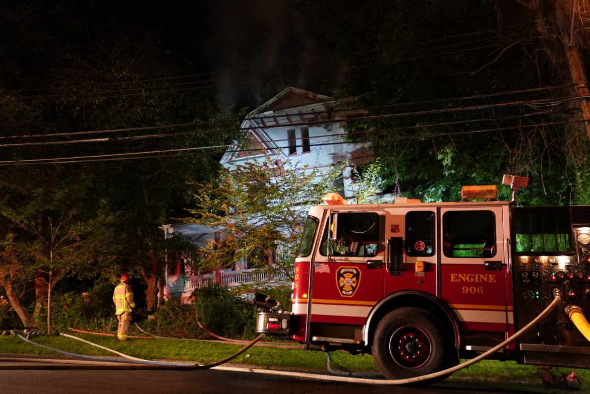 The fire continued to blaze on Buffalo Street.