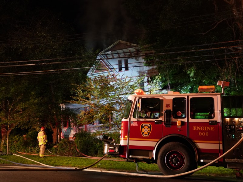 The fire continued to blaze on Buffalo Street.