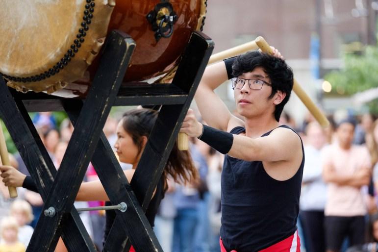 Calvin Woo '21 performs with Yamatai at the Bernie Milton Pavilion. (Michael Suguitan/Sun Staff Photographer)