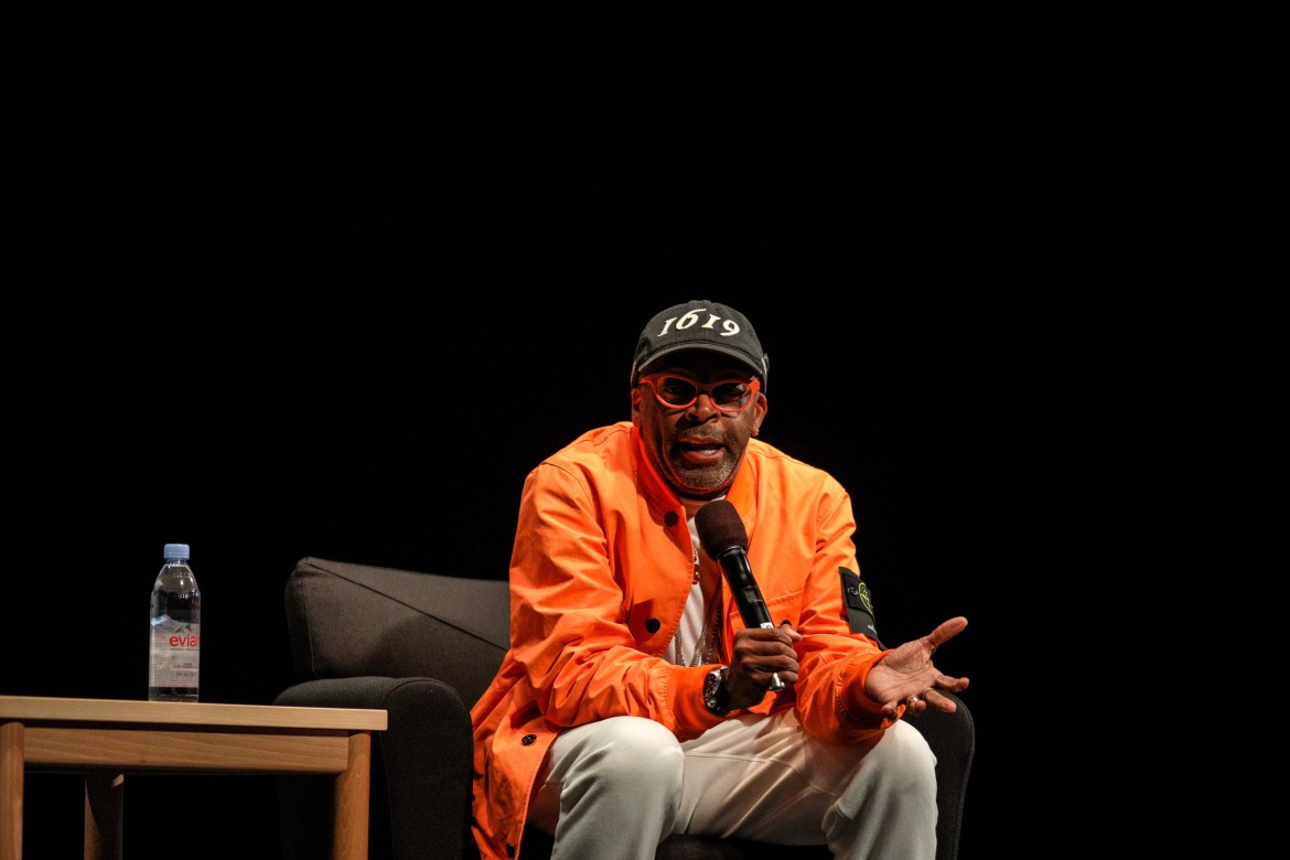 Donning a bright orange jacket and matching sunglasses, the Academy-Award winning director engaged in a riveting conversation with Prof. Samantha Sheppard, performing and media arts.