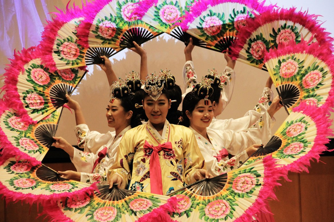 Members of HanChum, Cornell's traditional Korean dance group, performed at the anniversary celebration in Klarman Hall.