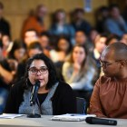Julia Feliz, a former fellow at the Alliance for Science, speaks about their experience at the Student Assembly meeting in Willard Straight Hall on Oct. 24.