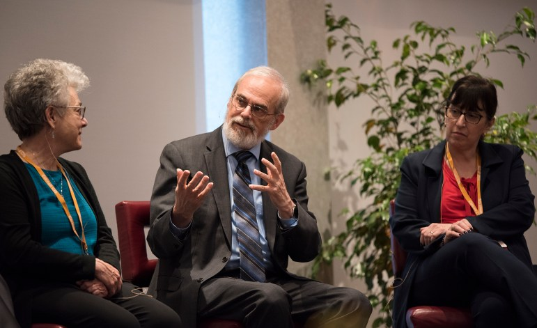Twenty years after the founding of Cornell's Computer and Information Science program, a panel consisting of Harvard University professor of natural science Barbara Grosz '69, Carnegie Mellon University president Farnam Jahanian, President Martha Pollack and MIT Chancellor and professor of computer science and medical engineering Eric Grimson gathered on Thursday to discuss the role of higher education in the development of technology. (Daniel Ra/Sun Staff Photographer)