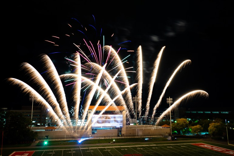 The Homecoming weekend kicked off with a fireworks show at Schoellkopf Field on Friday. (Harry Dang/Sun Staff Photographer)