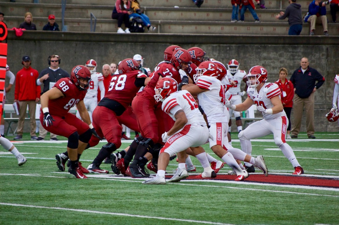 A banged-up Cornell team couldn't pull off a third straight win against Ivy rival Harvard.
