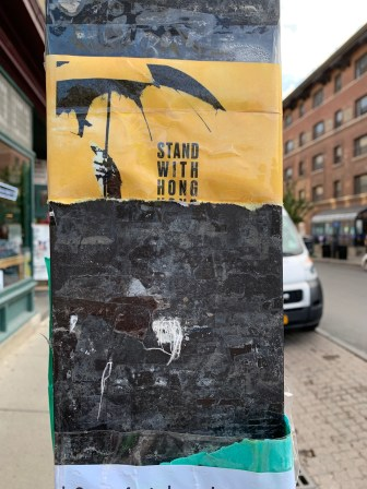 Posters around Cornell's campus have been partially torn.