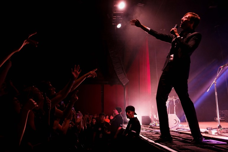 Saint Motel amps up the crowd at the Homecoming concert. (Michael Suguitan/Sun Staff Photographer)