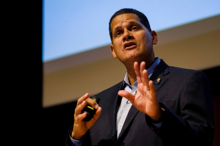 Reggie Fils-Aimé '83, the former president and chief operating officer of Nintendo of America, spoke about his principles of leadership and his experience at Nintendo on Monday. (Michael Suguitan/Sun Staff Photographer)